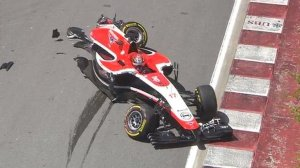 Bianchi's wrecked Marussia following his 1st lap crash with Chilton